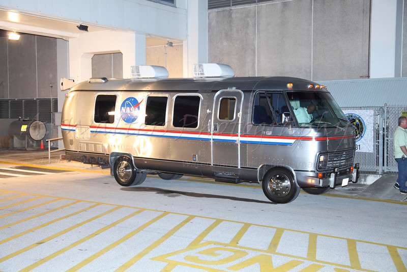 """The famous """"Airstream"""" van waiting for the crew of STS131"""