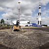 Pano showing Replica of Saturn V and moon lander.