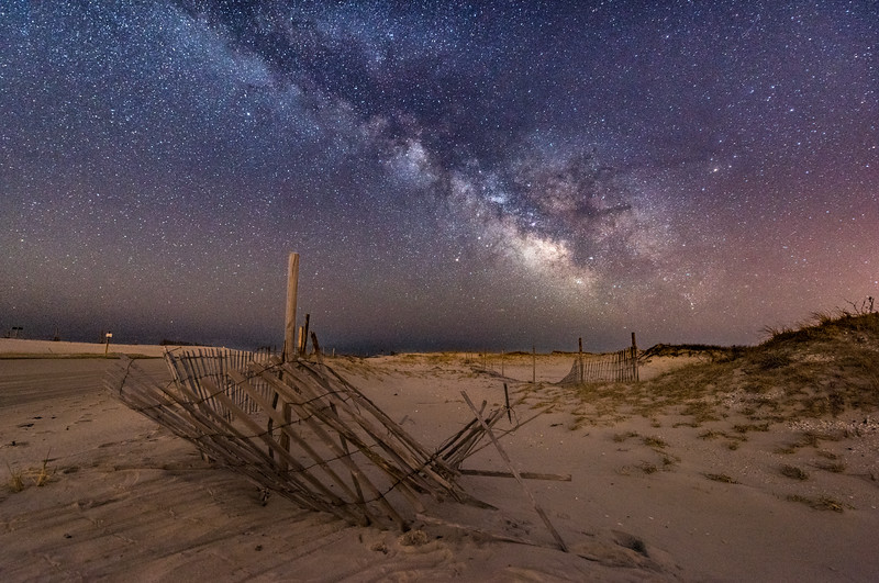 The Milky Way Rising Over A Broken Dune Fence in Island Beach State Park 4/11/18