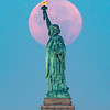 """The Full """"Buck"""" Moon Setting Behind The Statue Of Liberty 7/24/21"""