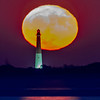 The Full Hunter Moon Rising Behind The Barnegat Lighthouse 10/14/19