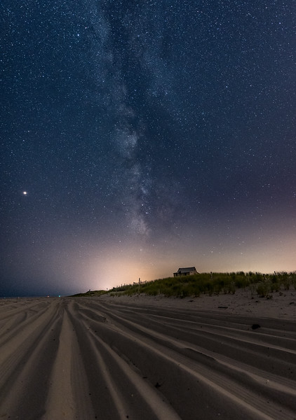 Tire Grooves in the Sand at The Judge's Shack in Island Beach State Park with the Milky Way Rising 8/10/18