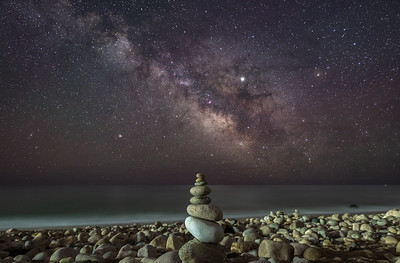 The Milky Way Rising Over A Rock Cairn On A Rocky Beach in Montauk, NY 5/7/19