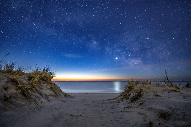The Milky Way With Venus and Jupiter Fading Into Predawn Over The Beach Dunes in Barnegat Light, NJ 2/10/19