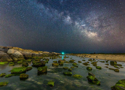 The Milky Way Rising Over Algae Covered Rocks on Barnegat Beach 6/8/18