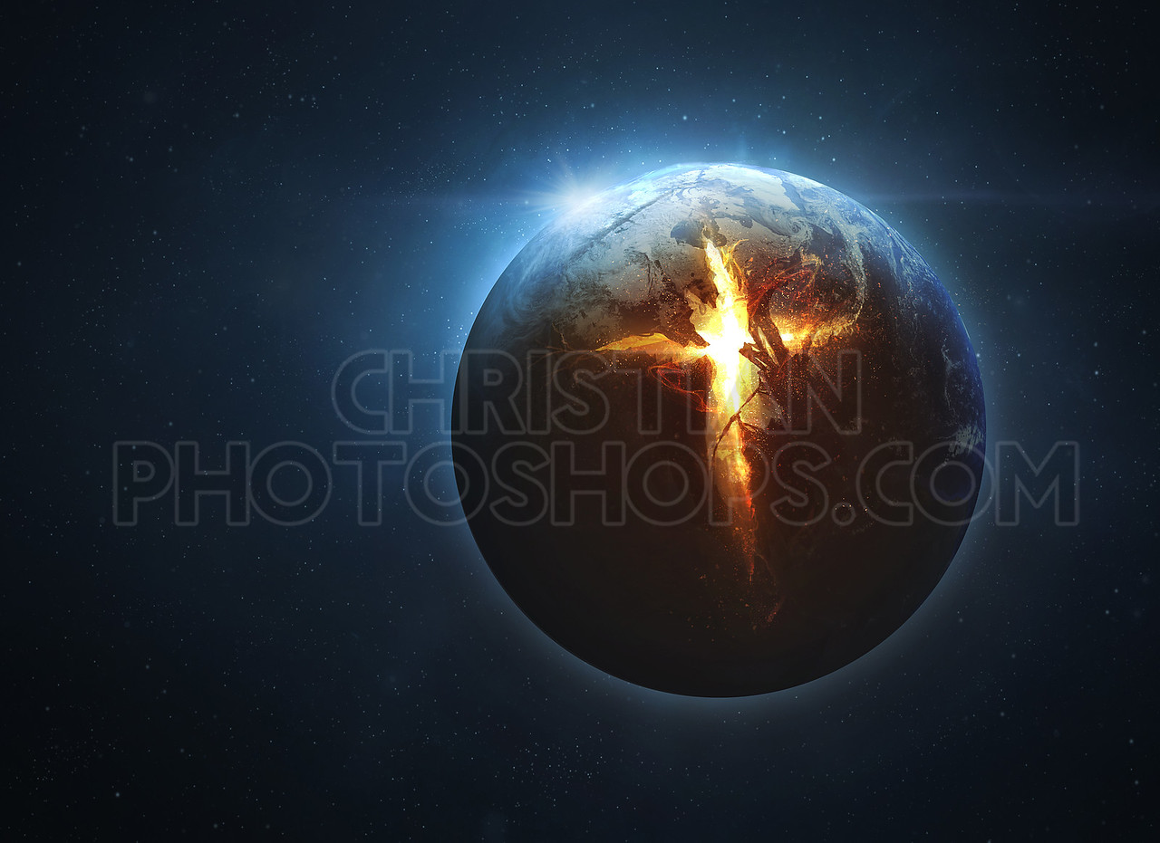 Cross coming from earth