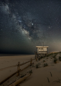 The Milky Way Rising Over The Lifeguard Station in Island Beach State Park 4/29/19