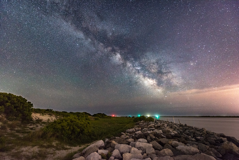 The Milky Way Arching Over Jetty in Island Beach State Park 6/12/18