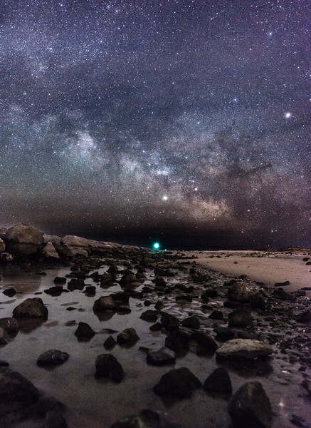 The Milky Way Rising Over The Barnegat Jetty and Beach 2/17/18