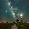 The Milky Way Rising Over The Walkway At Bodie Island Lighthouse, Nags Head, NC 7/22/20