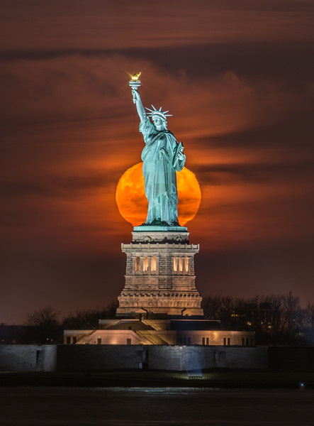 Full Moon Setting Behind The Statue of Liberty 12/13/16