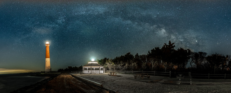 A Panoramic Shot Of The Milky Way Arching Across The Sky Over The Barnegat Lighthouse 4/11/19