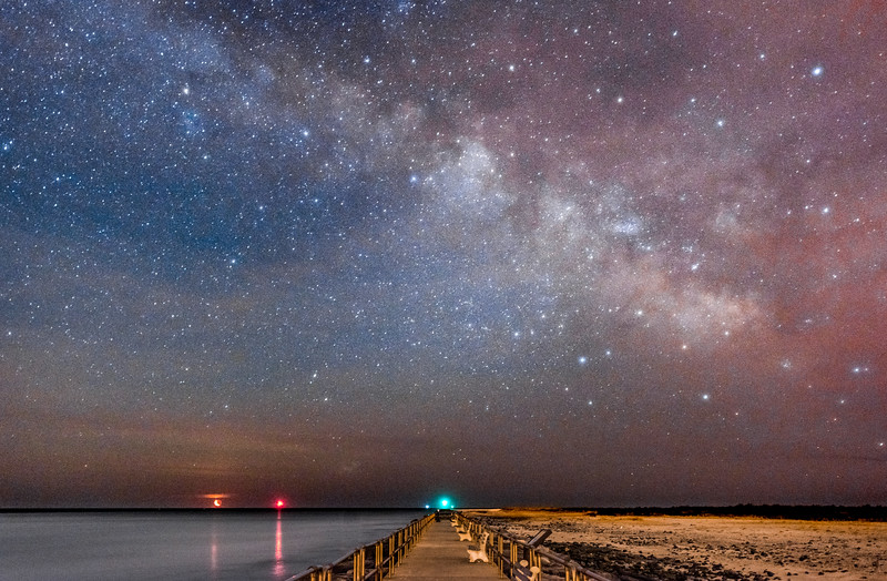 Crescent Moon Rising With Milky Way Over Barnegat Inlet 3/24/17