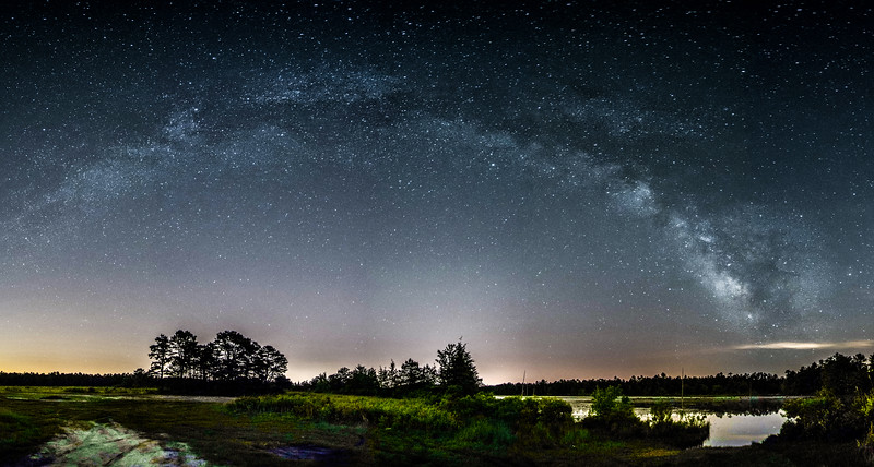 The Milky Way Galaxy Arching Over Lake, Jackson, NJ
