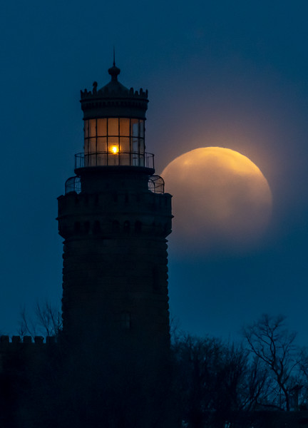 The Full Moon Setting Behind The Twin Lights Lighthouse 4/19/19