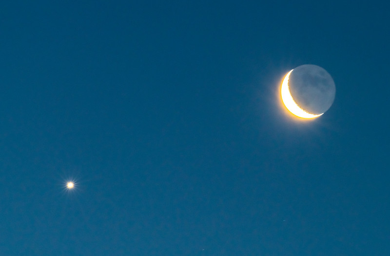 Waning Crescent Moon with Venus 1/31/19