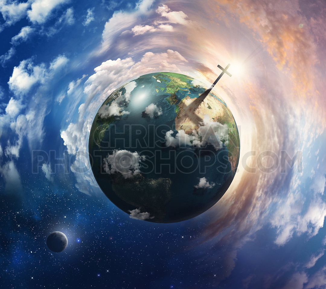 Earth with cross.