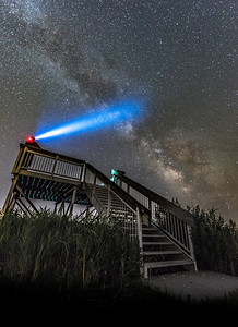 The Milky Way Rising Over Observation Deck On Southern New Jersey Coast 7/9/18