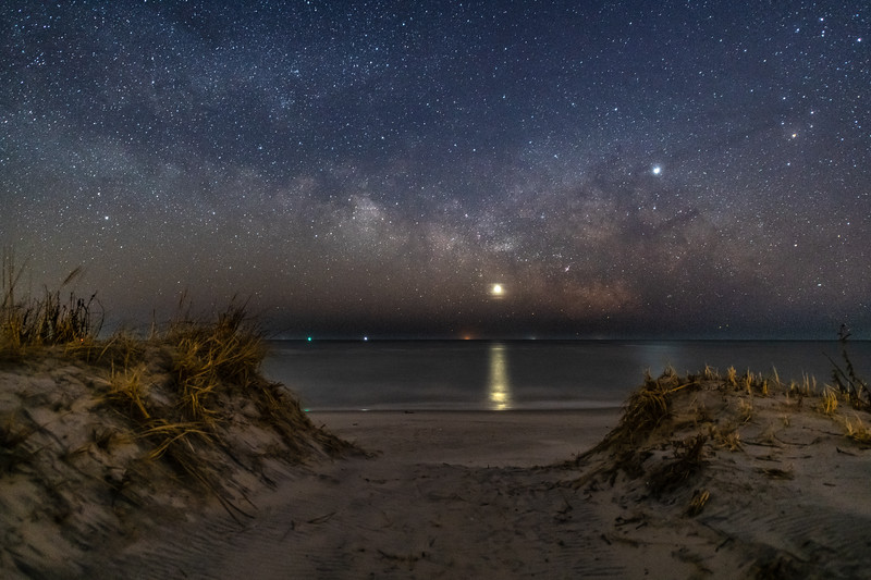 The Milky Way With Venus and Jupiter Rising Over The Beach Dunes in Barnegat Light, NJ 2/10/19