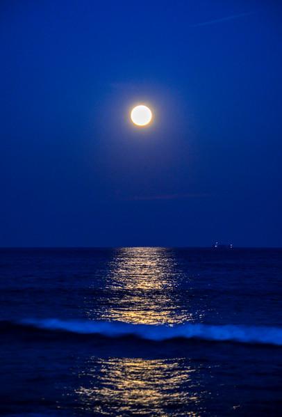 Full Moon Rising Over Ocean, Manasquan, NJ
