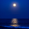 Full Moon Rising Over Ocean, Manasquan, NJ