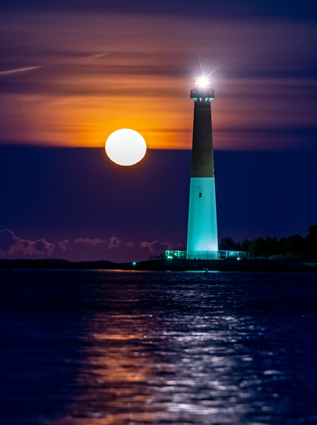 The Full Snow Moon Rising Behind The Barnegat Lighthouse 2/9/20