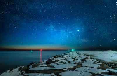 The Milky Way Fading Into Predawn Over Snow-Covered Jetty at Barnegat Light 2/3/19