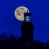 The Full Worm Moon Setting Behind The Twin Lights Lighthouse 3/9/20