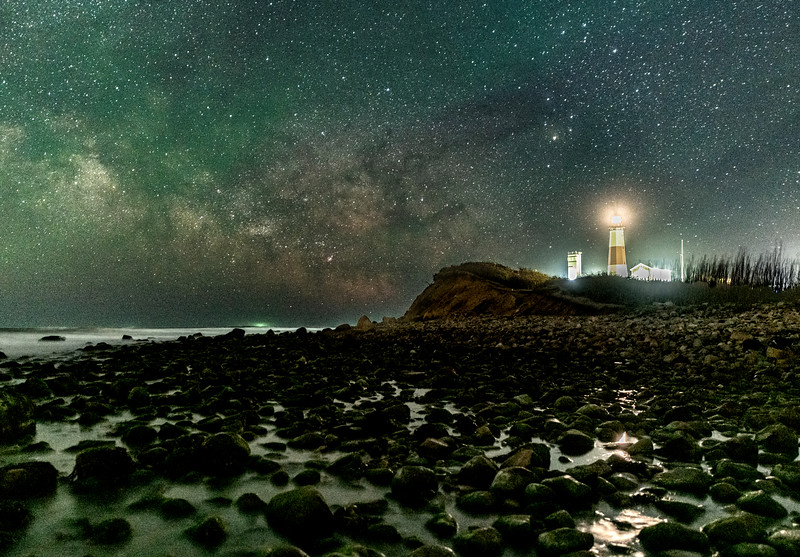 The Milky Way Rising Over The Montauk Lighthouse and Rocky Beach in Montauk, NY 5/20/20