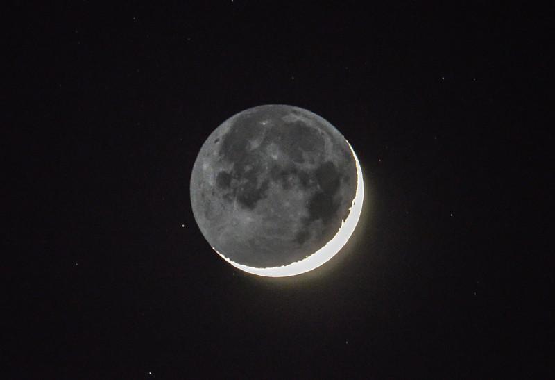 Waxing Crescent Moon with Earthshine