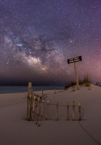 """The Milky Way Rising Over """"Keep Away From Dunes"""" Sign in Island Beach State Park 4/11/18"""