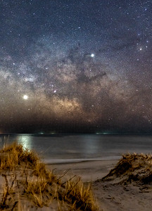 The Milky Way Galactic Core With Venus and Jupiter Rising Over The Beach Dunes in Barnegat Light, NJ 2/10/19