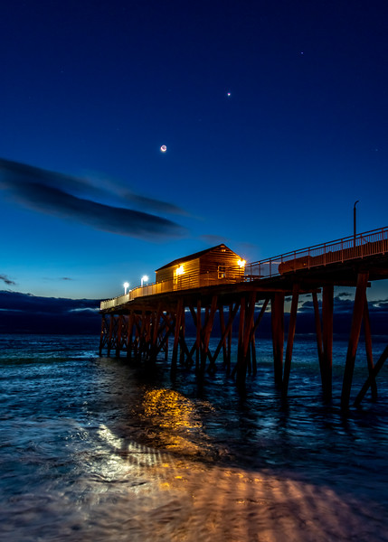 The Crescent Moon with Venus and Spica Above the Belmar Pier, Jersey Shore, NJ 12/4/18