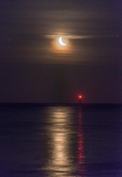 Crescent Moon Rise Over Barnegat Inlet 3/24/17
