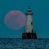Full Moon Rising Next to Great Beds Lighthouse 2/10/17