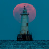 Full Moon Behind Great Beds Lighthouse 2/10/17