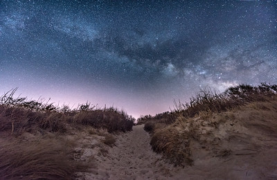 The Milky Way Rising Over A Pathway on Cape May Beach 3/17/18