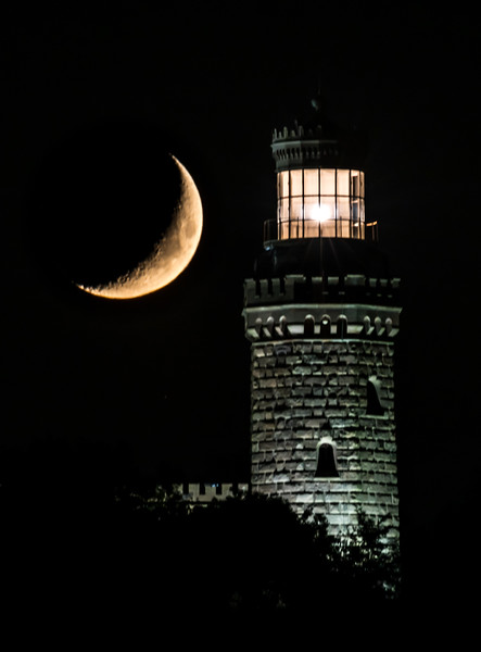 Crescent Moon Setting Over The Twin Lights Lighthouse 9/24/17