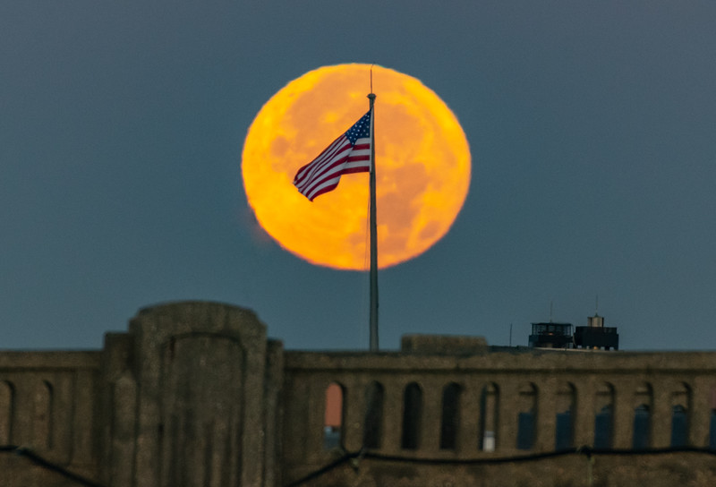 """The American Flag in Front of the Full """"Beaver"""" Moon Setting 11/23/18"""