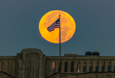 "The American Flag in Front of the Full ""Beaver"" Moon Setting 11/23/18"