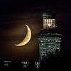The Crescent Moon Setting Behind The Twin Lights Lighthouse 8/12/21