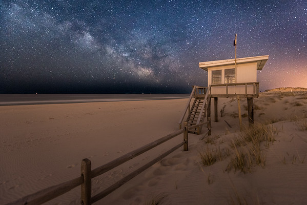 The Milky Way Rising Over The Lifeguard Station in Island Beach State Park 4/11/18