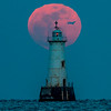 Full Moon with Airplane Behind Great Beds Lighthouse 2/10/17