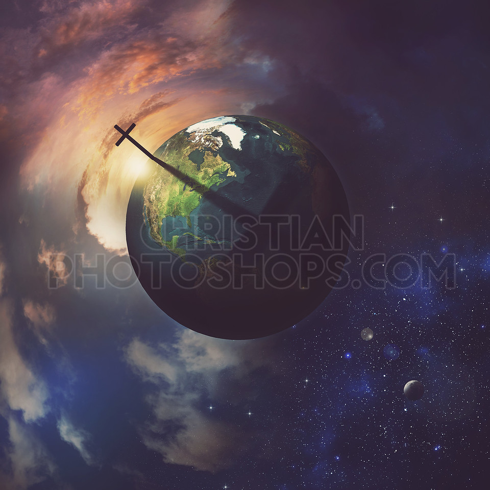 Earth with cross.