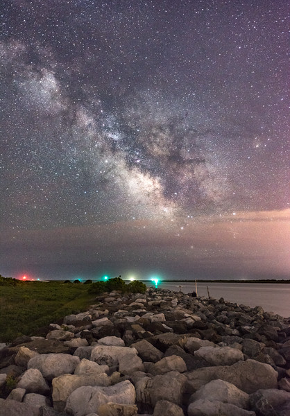 The Milky Way Rising Over Jetty in Island Beach State Park 6/12/18