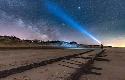 """The Milky Way Rising Over The """"Ghost Tracks"""" Railroad on Cape May Beach 3/17/18"""
