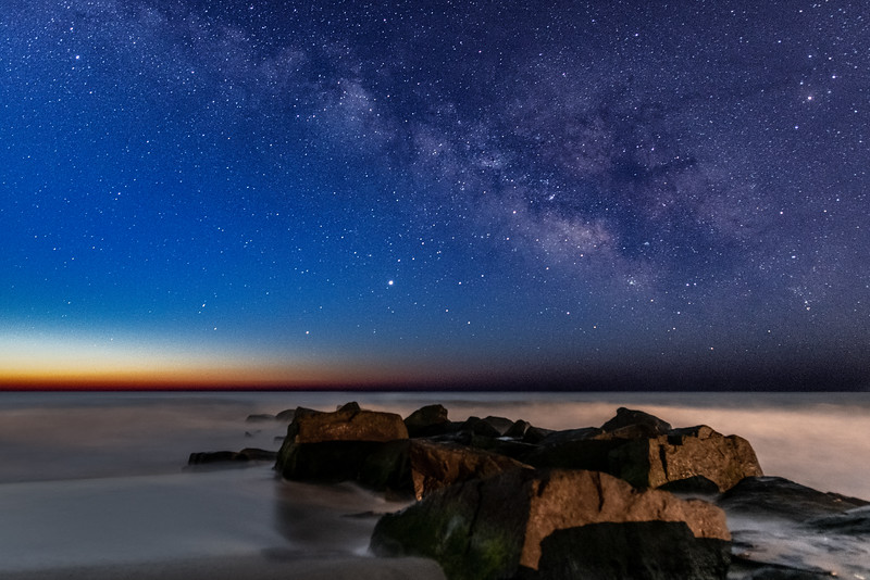 The Milky Way Fading Into Predawn Over Rock Jetty In Holgate, Long Beach Island 2/23/20