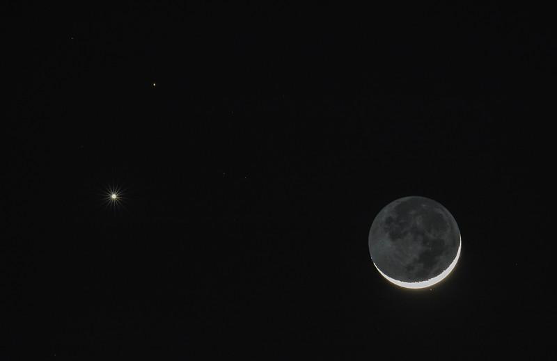 Waxing Crescent Moon, Venus and Mars