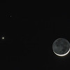 Waxing Crescent Moon, Venus and Mars