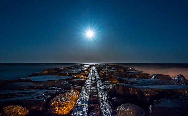 Full Blue Moon Rising Over Asbury Park Jetty 3/31/18